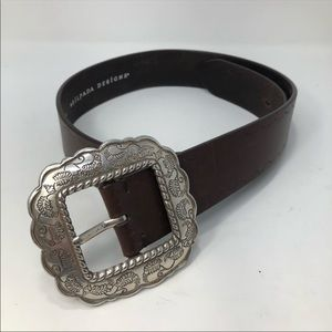 Silpada brown leather western silver buckle size M
